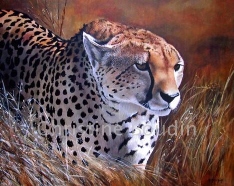 Guépard2  Peinture de l'artiste Christine Boudin