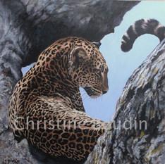 Léopard arbre 4  Peinture de l'artiste Christine Boudin