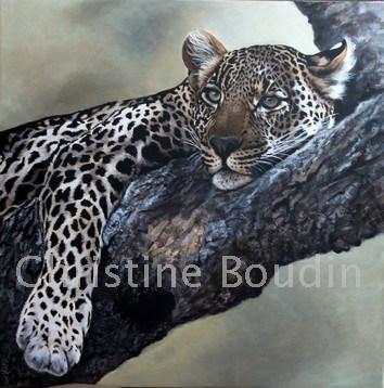 Sieste  léopard  Peinture de l'artiste Christine Boudin