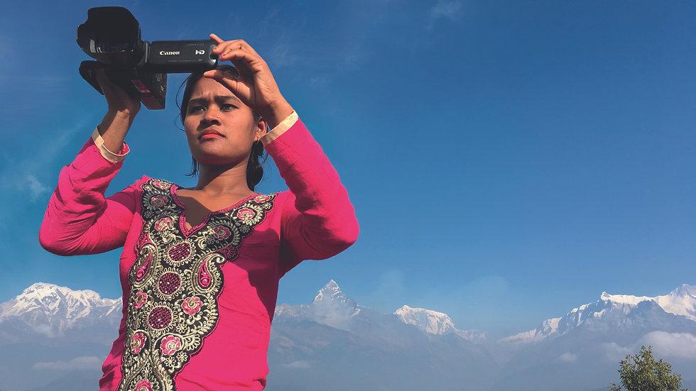 Poster image_wide_Belmaya in 2017 at Sarangkot, with Macchapucchre peak and Annapurna rang