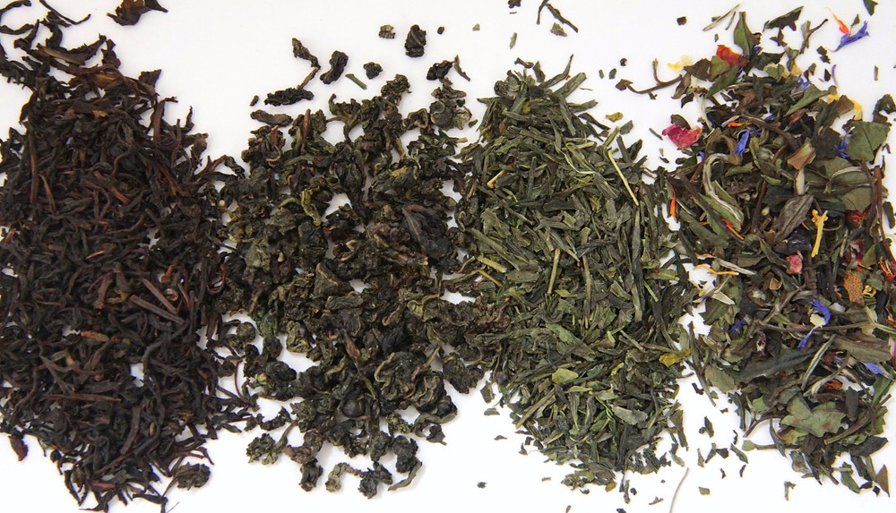Left to Right: Black tea, Oolong tea, Green tea & White tea.