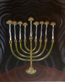 Mushroom Menorah (Menorah Manure-ah)