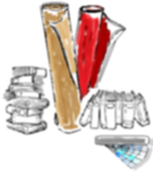 Sketch of Interior Designer Tools, fabric samples, paint swatches, and vendor catalogs