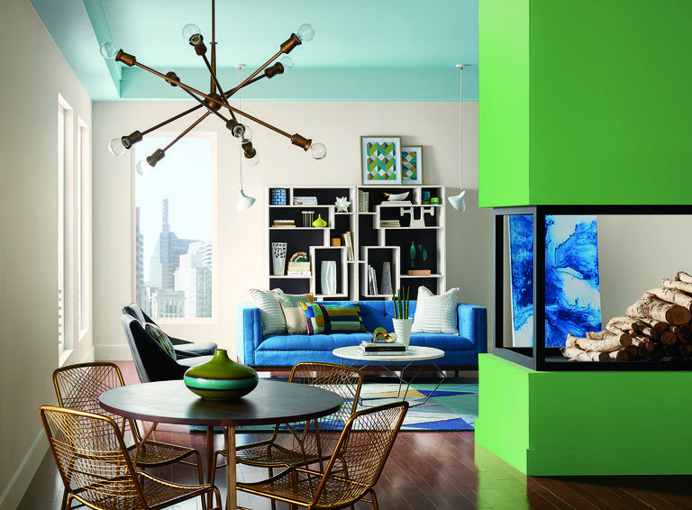 Interior Designers are using bright colors like turquoise and apple green these days