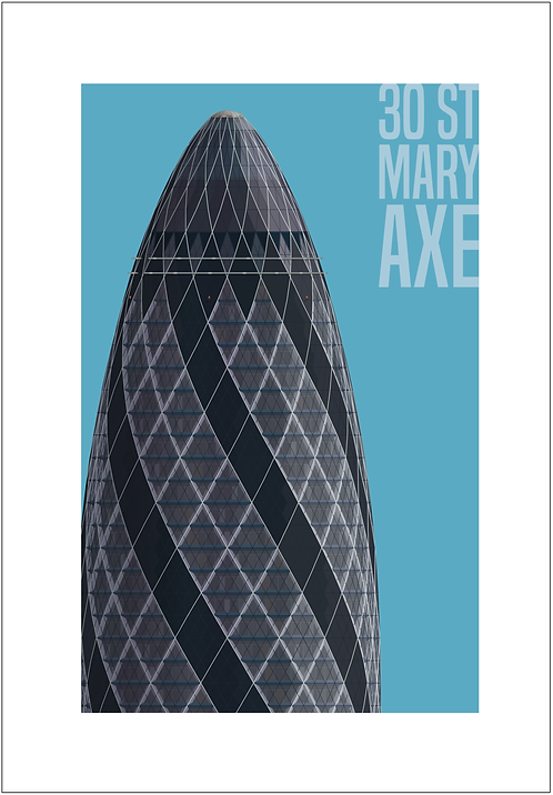 St Mary Axe, The Gherkin - 594mm x 840mm