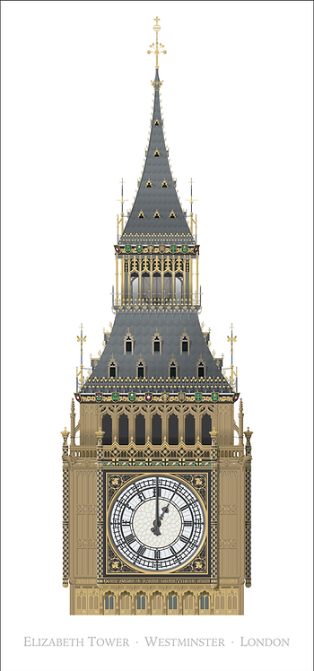 Elizabeth Tower - 420mm x 840mm