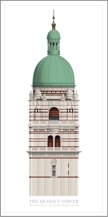 The Queen's Tower, Imperial College, London - 500 x 1000mm