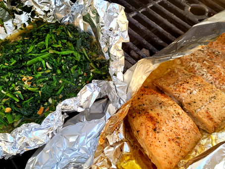 Savory Grilled Salmon & Smoked Spinach