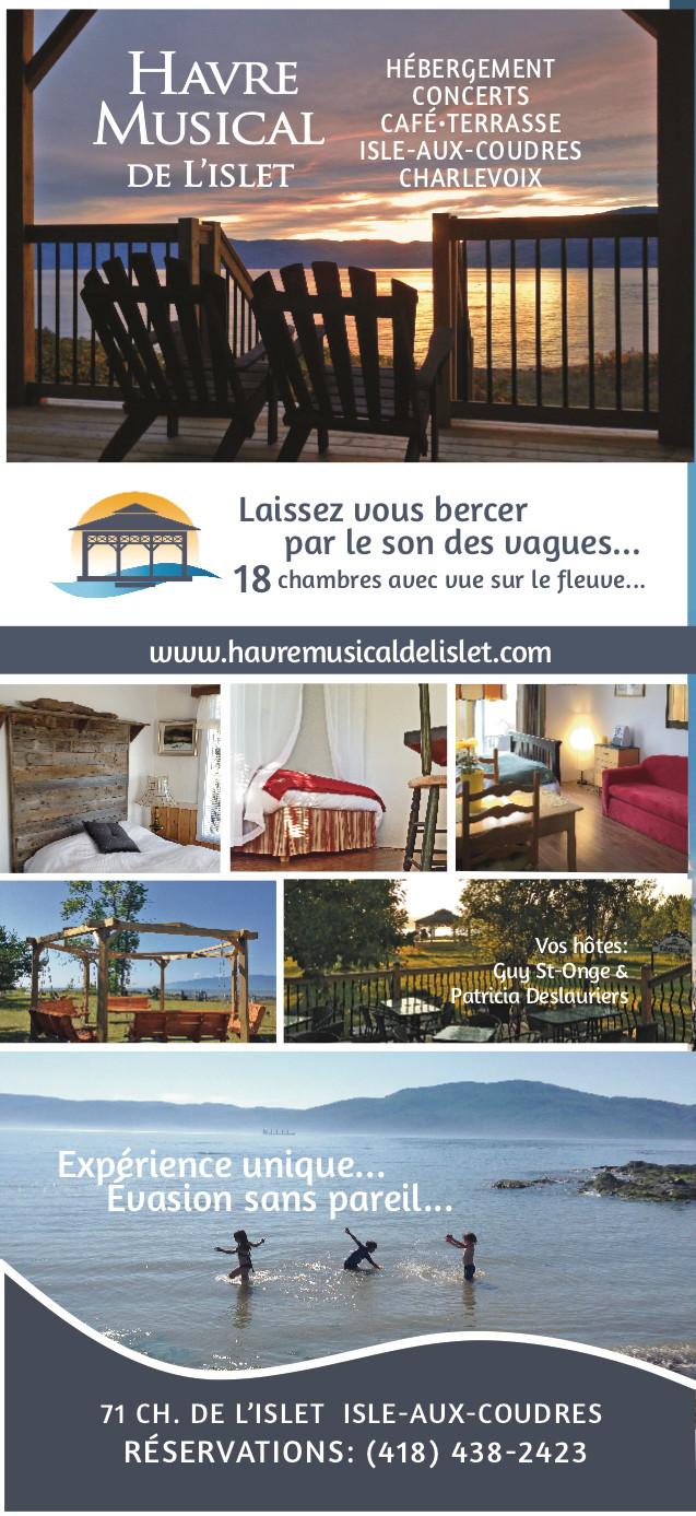 Il n'y a pas que des concerts de musique au Havre Musical de l'Islet! La mer, le vent et les oiseaux et le silence offrent tout une symphonie!