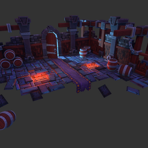 dungeon all aspects - Ania Gareeva  modelling - maya sculpting - zbrush texturing - substance painter + photoshop rendering - marmoset