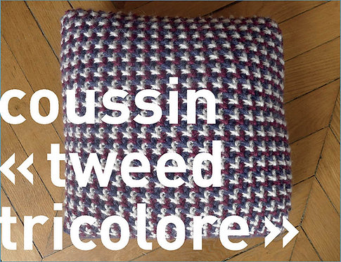 Coussin tweed tricolore