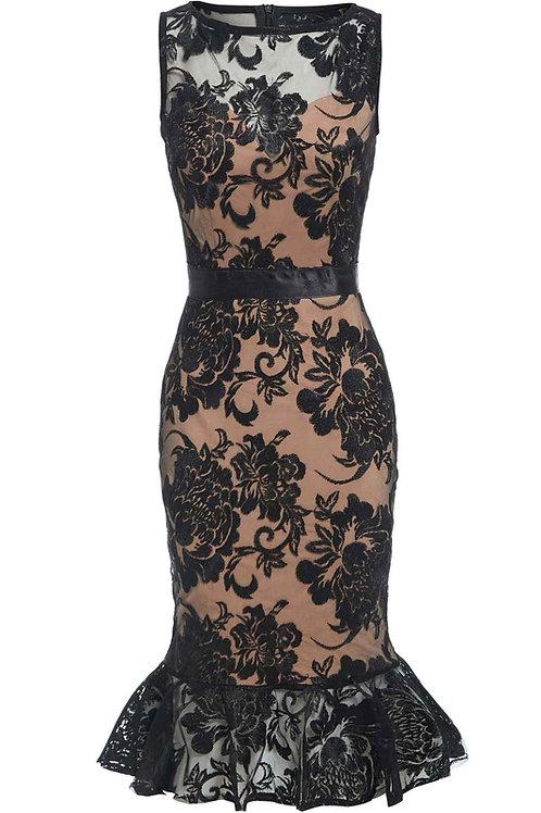 Saint A Niki Peplum Dress in Black