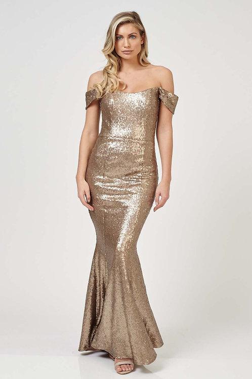 Saint A Gold Mariana Sequin Maxi Dress