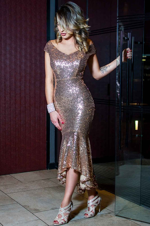 Saint A Andrea High Low Sequin Dress in Rose Gold