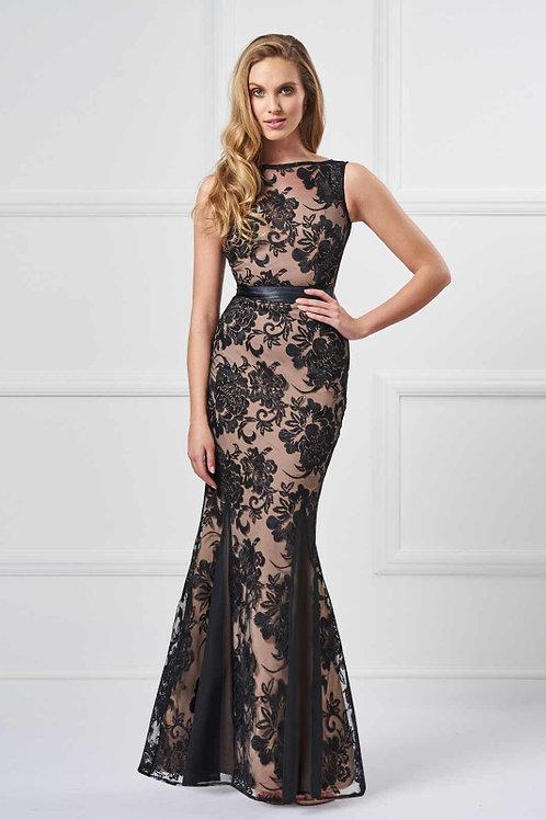 Saint A Clio Rose Print Dress in Black