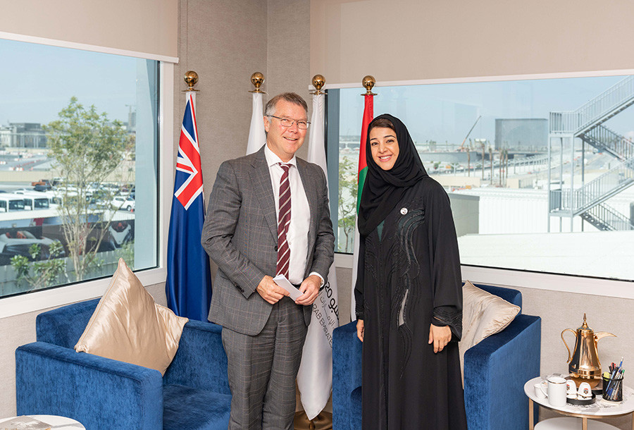 David Parker, New Zealand's Minister for Trade and Export Growth with Minister responsible for Expo 2020 and International Cooperation, HE Reem Al Hashimi. Photo: Expo 2020 Dubai