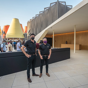 New Zealand cricket legends Stephen Fleming and Brendon McCullum at Expo 2020 Dubai