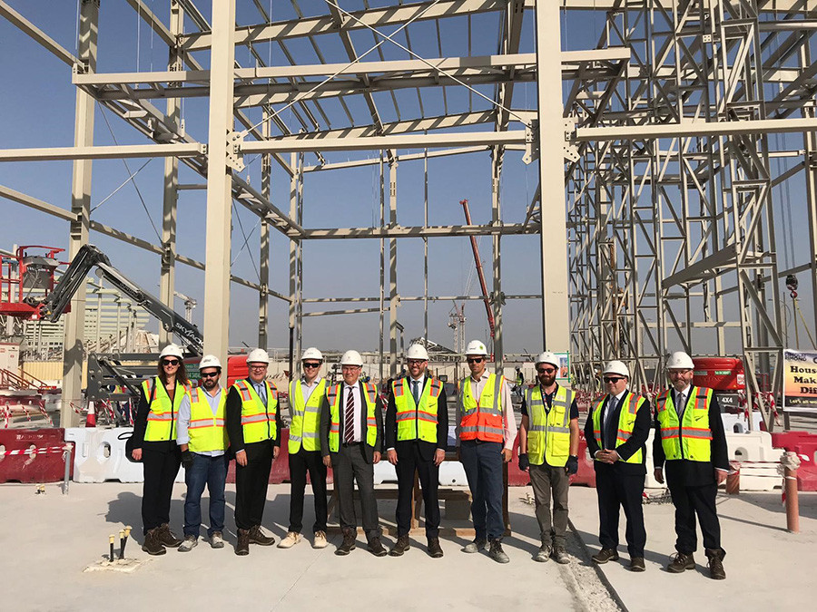Minster Parker on site at the New Zealand pavilion with the NZ Expo 2020 team and our construction partners Cimolai Rimond Middle East (CRME).