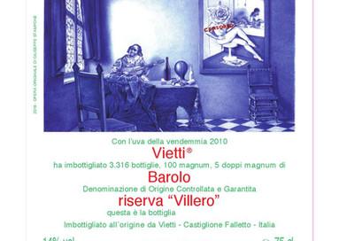 Künstleretikett für Barolo Villero 2010 / 99 Parker Punkte für Top-Wein von Vietti
