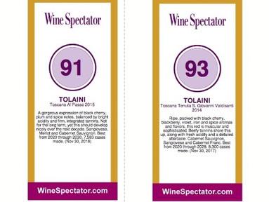 Parker, Suckling & Co - Top-Scores für Tolaini