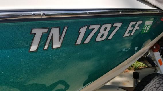 Malibu Boats domed registration numbers
