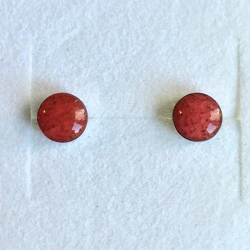 Circular Red Coral Stud Earrings