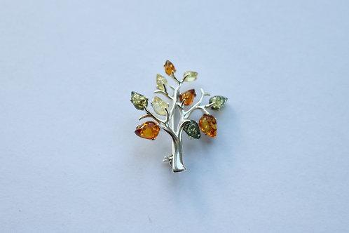 Tri Colour Amber Tree Brooch