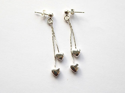 Double Hearts on a Chain Post Drop Earrings