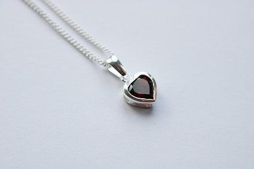 Facetted Garnet Heart Pendant