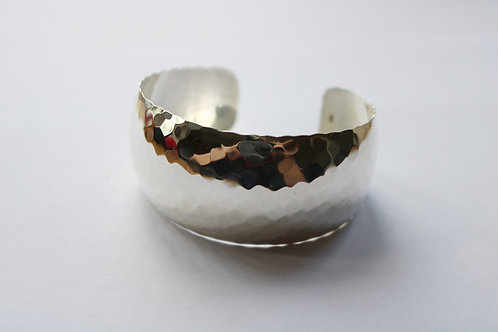 Hammer Finished Concave Cuff Bangle