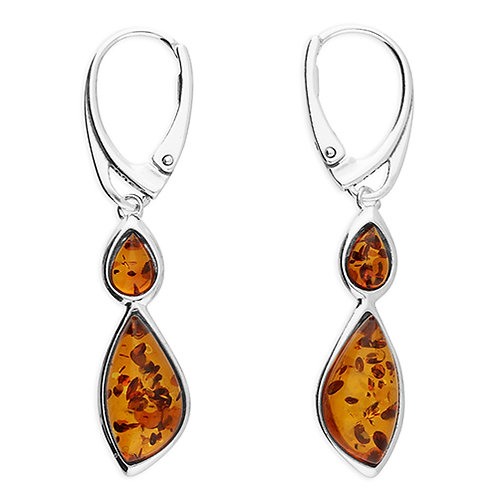 Sterling Silver 2 Stone Amber Drop Earrings