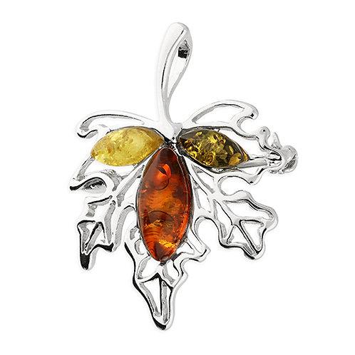 Sterling Silver Amber Leaf Brooch