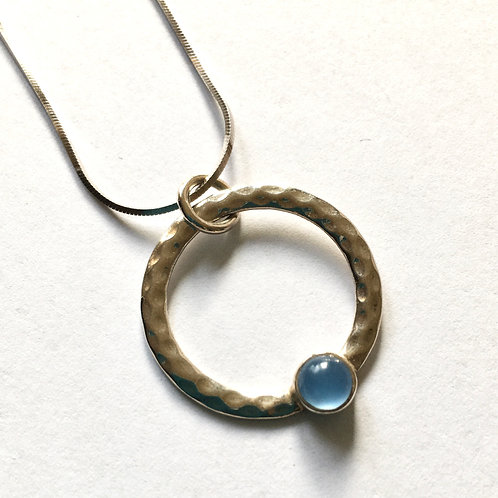 Blue Chalcedony Hammered Ring Pendant