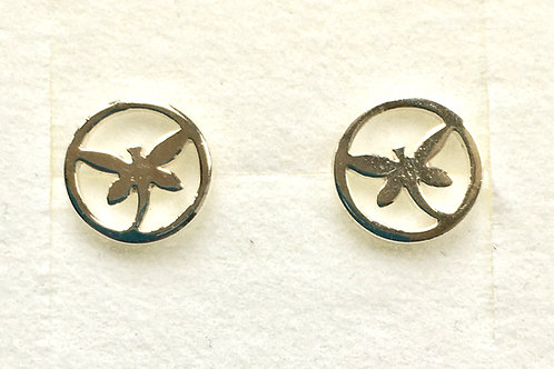 Dragonfly in Circle Studs