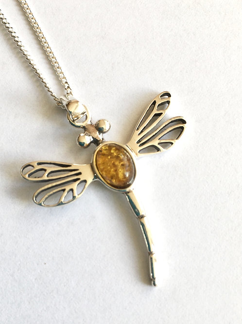 Amber Oval Centre Dragonfly Pendant