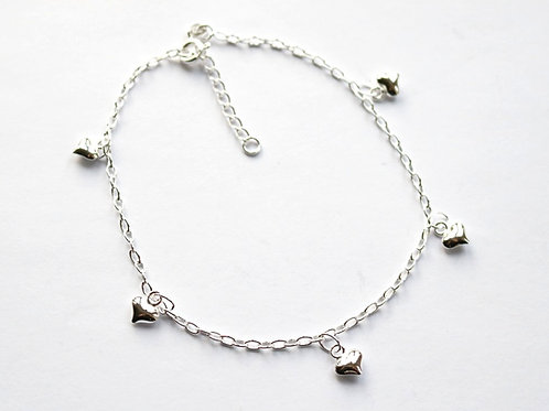 Puff Heart Charm Anklet