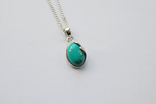Oval Turquoise Silver Detail Pendant