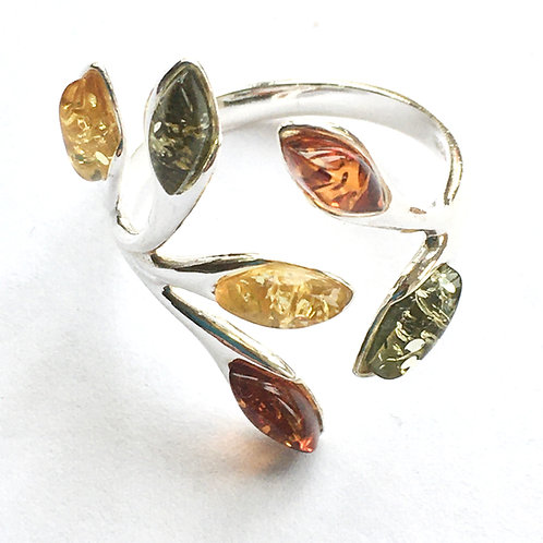 Multi Colour Amber Open Front Ring