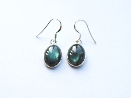 Natural Oval Labradorite Drop Earrings