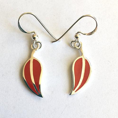 Red Resin Leaf Drop Earrings