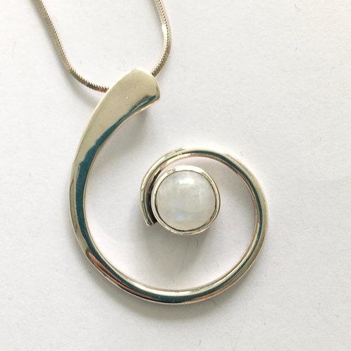 Large Moonstone Spiral Pendant