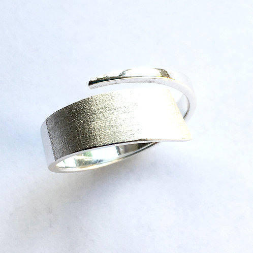 Brushed & Polished Coil Open Ring
