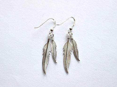 Double Feathers Drop Earrings