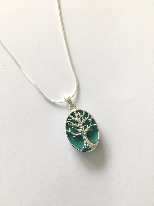 Oval Turquoise Tree of Life Pendant