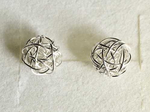 Silver Wire Ball Studs
