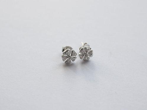 Clear CZ Vintage Flower Stud Earrings