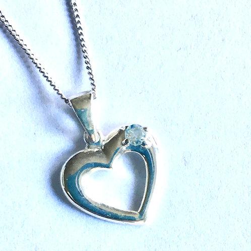 Small Blue Topaz Open Heart Pendant