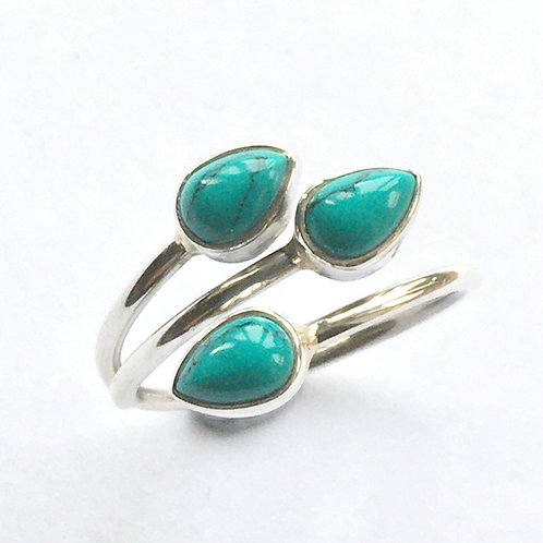 Turquoise triple teardrop open front ring