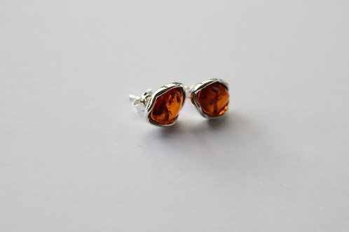 Abstract Oval Cognac Amber Stud Earrings