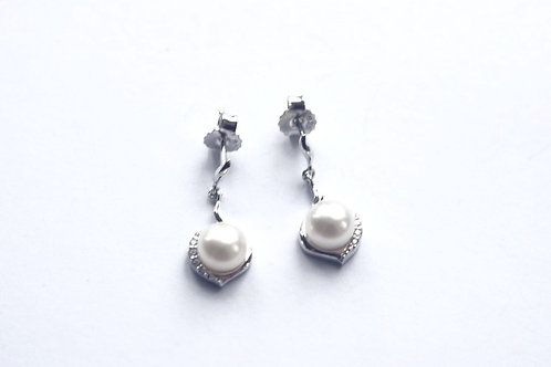 Freshwater Pearl and CZ Post Drop Earrings